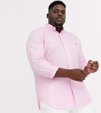 Big & Tall player logo button down garment dye chino shirt in pink