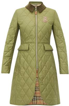 Burberry Ongar Vintage Check Lined Quilted Coat - Womens - Khaki