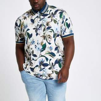 River Island Big and Tall stone floral polo shirt