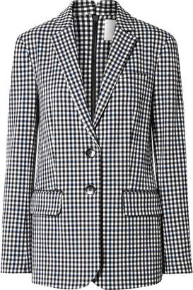 Tibi Zip-embellished Gingham Cady Blazer - Black