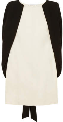 Givenchy Two-tone Cape-effect Crepe Mini Dress - White