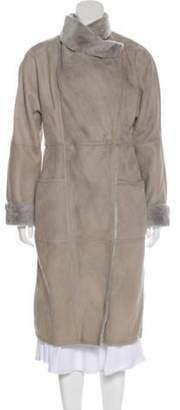 Max Mara Long Leather Coat Grey Long Leather Coat