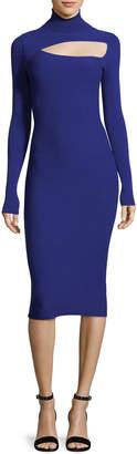 A.L.C. Montero Turtleneck Cutout Long-Sleeve Fitted Midi Dress