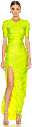 Thierry Mugler Cutout Ruched Slit Dress in Fluo Yellow | FWRD