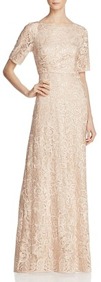 Adrianna Papell Illusion-Sleeve Embellished Lace Gown $229 thestylecure.com