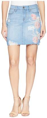 Liverpool Frey Edge Skirt with Distress in a Classic Soft Rigid Denim in Rivington Shred Women's Skirt