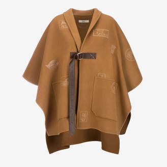 Bally Logo Patch Embroidered Cape Brown, Women's double faced wool cape in cowboy
