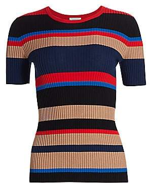 Akris Punto Women's Multi Stripe Wool Knit Short-Sleeve Sweater