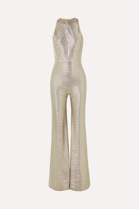 Galvan Sheath Metallic Stretch-jersey Jumpsuit - Gold