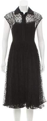 Prada Belted Lace A-Line Dress