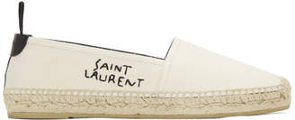 Saint Laurent Off-White Canvas Logo Espadrilles