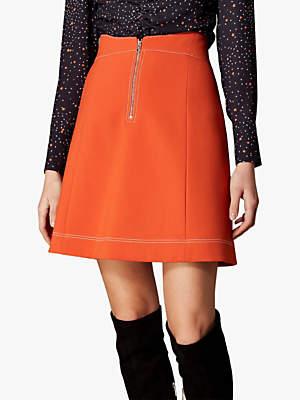 Karen Millen Contrast Stitch Mini Skirt, Orange