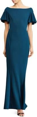 Ralph Lauren Flutter-Sleeve Gown