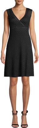 Missoni V-Neck Sleeveless Metallic A-Line Mini Dress