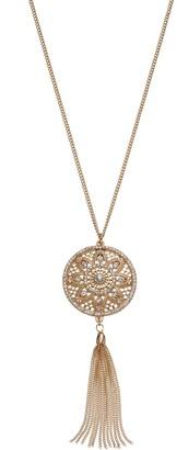 Lauren Conrad Long Medallion Tassel Pendant Necklace