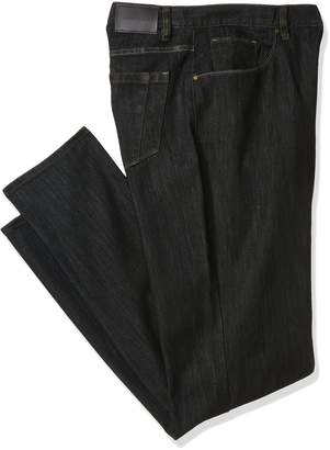 Perry Ellis Men's Big and Tall Rinse with Black Tint Five Pocket Denim