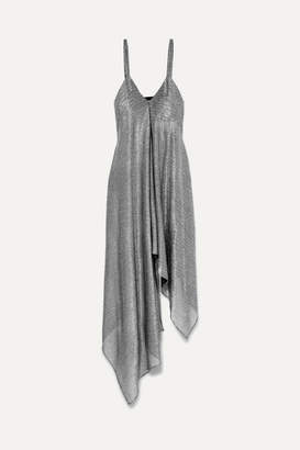 Christopher Kane Asymmetric Lamé Dress - Silver