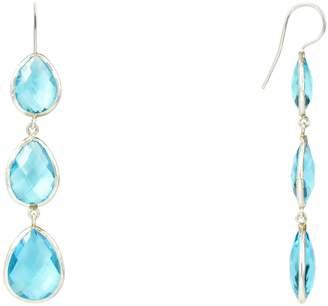 Latelita London - Silver Triple Drop Earring Blue Topaz