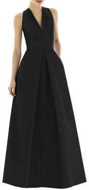 Alfred Sung Full Length V-Neck Dupioni Dress
