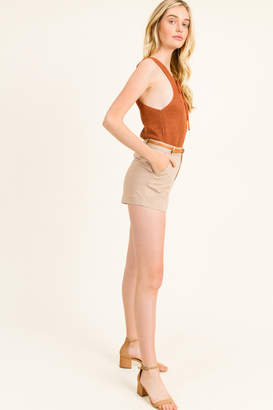 Montrez HIGH WAISTED BELTED CHINO SHORTS