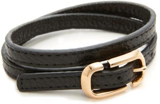 Marc Jacobs Icon Buckle Double Wrap Leather Bracelet $125 thestylecure.com