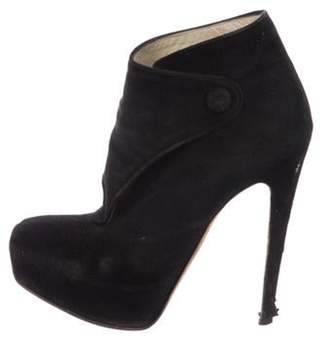 Brian Atwood Suede High-Heel Ankle Boots Black Suede High-Heel Ankle Boots