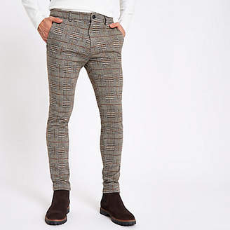 River Island Brown check jersey skinny fit pants