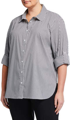 Calvin Klein Plus Size Striped Button-Front Boyfriend Tunic