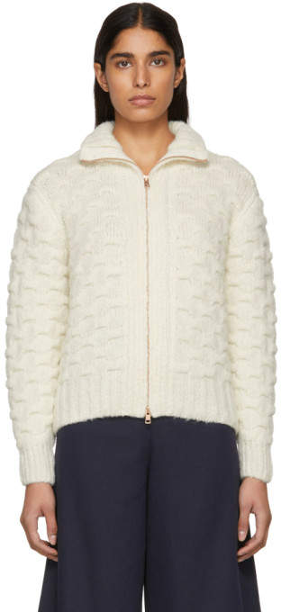 White and Beige Textured Knit Jacket