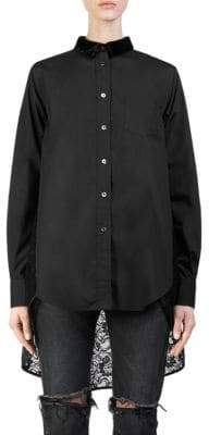 Sacai Lace High-Low Button-Down Shirt