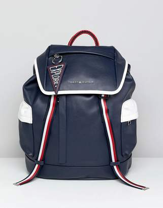 Tommy Hilfiger Wanderlust Icon Trim Faux Leather Backpack in Navy