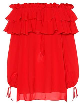 Alexander McQueen Ruffled silk top