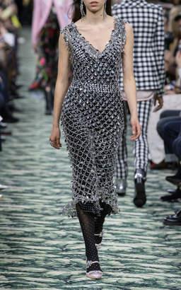 Paco Rabanne Crystal Pendant Metal Overlay Dress