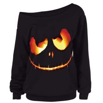 Muranba Tops Women Halloween Hoodies Pumpkin Printing Sweatshirt ( ,4XL)