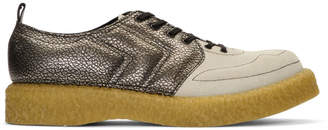 Comme des Garcons Silver and Beige Velour Goatskin Sneakers