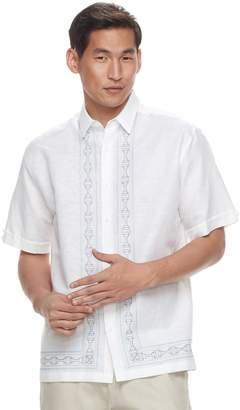 Men's Havanera Classic-Fit Geometric L-Panel Linen-Blend Embroidered Button-Down Shirt