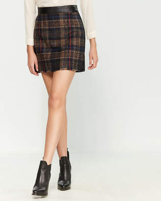 Ottod'ame Plaid Mix Media Mini Skirt