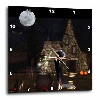 3dRose Elf Witch Halloween, Wall Clock, 15 by 15-inch