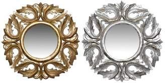 Astoria Grand Kurth Wood Carved Round Accent Mirror