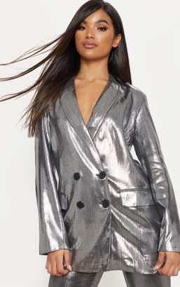 PrettyLittleThing Silver Metallic Button Front Blazer