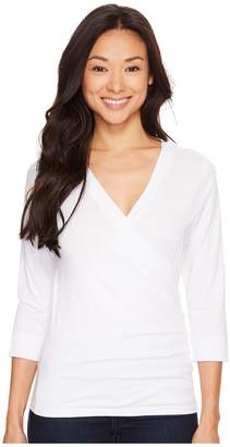 Lilla P Pima Jersey 3/4 Sleeve Surplice Top Women's Clothing