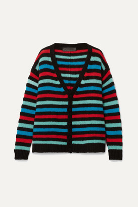 The Elder Statesman Striped Cashmere Cardigan - Black