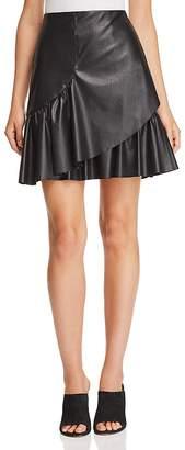 Rebecca Taylor Vegan-Leather Ruffle Skirt
