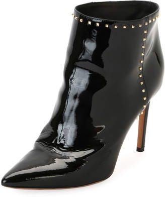 Valentino Studded Patent Ankle Boot, Black