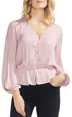Vince Camuto Button-Down Peplum Top