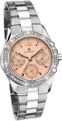 Accurist Stainless Steel Rose Dial Bracelet Ladies Watch