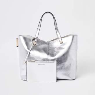 River Island Silver metallic reversible beach tote bag