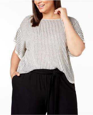 Eileen Fisher Plus Size Organic Linen Striped Short-Sleeve Sweater