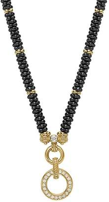 """Lagos Circle Game Black Caviar Ceramic Rope Necklace with Diamonds and 18K Gold, 16"""""""