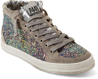 P448 Love Suede & Glittered Mid-Top Sneakers